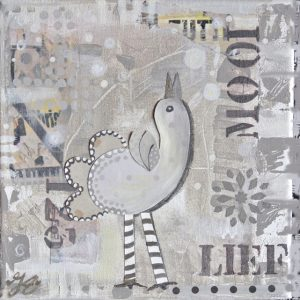 Kunstkaart creme happy bird 1