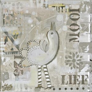 Kunstkaart creme happy bird 1