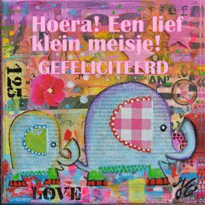 Kunstkaart olifantjes 'Hoera!Een lief klein meisje! Gefeliciteerd