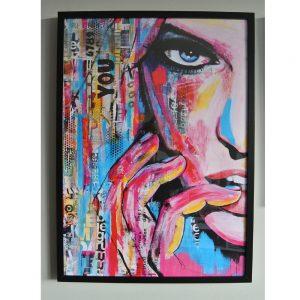YOU in RIBBA lijst kunstposter kleur roze blauw schilderij janet edens mixed media schilerijen