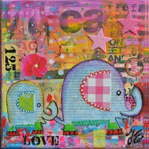 kunstkaart olifantjes