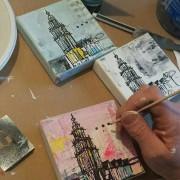 uniek relatiegeschenk Groningen mini Martinitorentjes op canvas