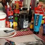 kinderfeestje omgeving Groningen schilderen schilderij maken mixed media Janet Edens