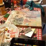 kinderfeest kinderfeestje omgeving Groningen schilderen mixed media schilderij maken kunstwerk Janet Edens
