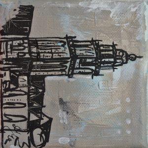 Martinitoren Groningen aandenken kado relatiegeschenk schilderijtje Janet Edens
