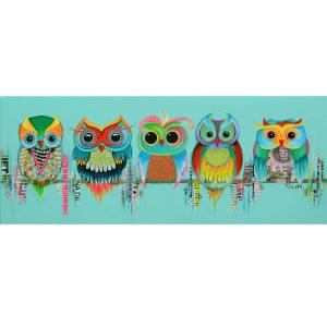 uilen op een rij kleurrijk betaalbare kunst kunstwerk schilderij