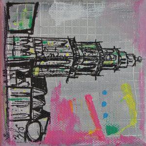 Martinitoren Groningen aandenken geschenk relatiegeschenk cadeau schilderijtje Groningen Janet Edens