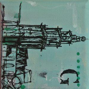 Martinitoren Groningen aandenken geschenk cadeau relatiegeschenk schilderijtje Janet Edens