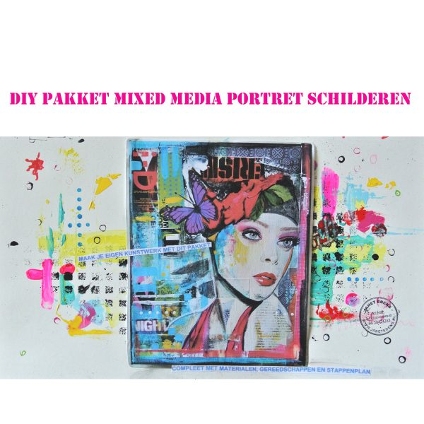 DIY compleet pakket kit mixed media portret schilderen janet edens