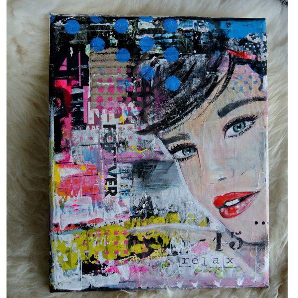 resultaat 2 mixed media portret schilderen janet edens compleet schilderpakket
