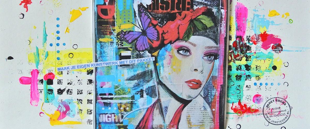 met dit DIY workshop compleet pakket mixed media portret schilderen maak je een kunstwerk thuis
