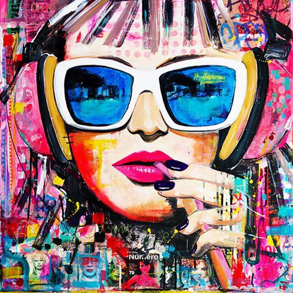 Mixed media schilderij kleurrijk uniek Janet Edens