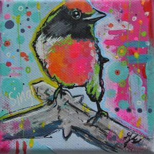 kleurrijke vogel op 10x10 doek