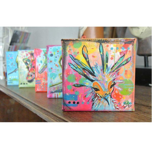 mini schilderijtjes kleurrijke dieren mixed media janet edens sfeerfoto