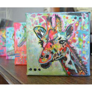 kleurrijke vrolijke dieren schilderijen