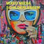 personeelsuitje, teamuitje, bedrijfsuitje Mixed Media schilderlessen Galerie23 in Noord Sleen door Janet Edens