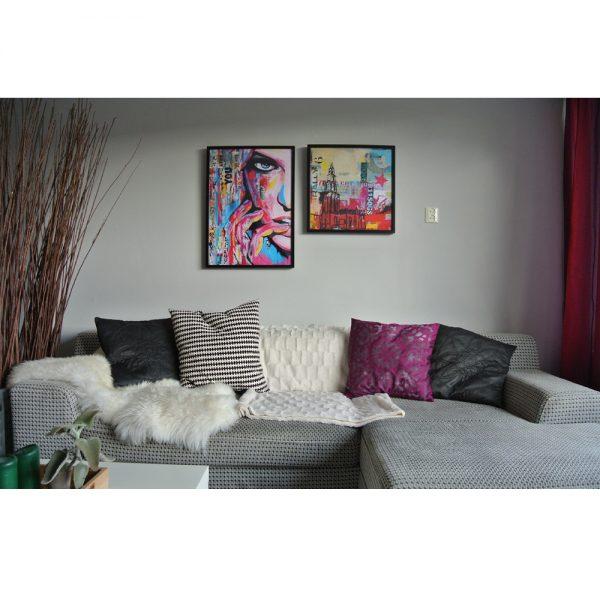 woonkamer kunstposter YOU in lijst janet edens schilderijen