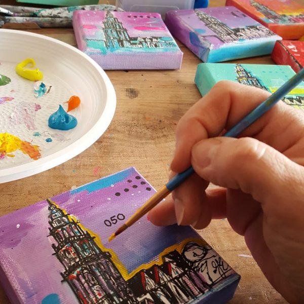 Martinitoren Groningen relatiegeschenk kado aandenken kunst schilderijtje Janet Edens