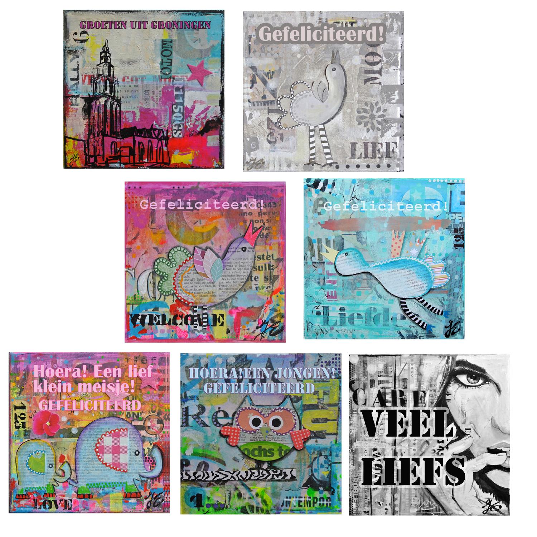 kunstkaarten wenskaarten mooie mixed media kaarten met tekst Janet Edens