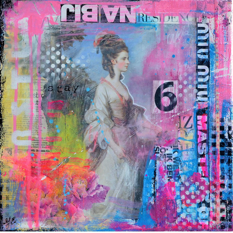 roze blauw gouden eeuw acryl en mixed media schilderij betaalbare kunst kunstwerk