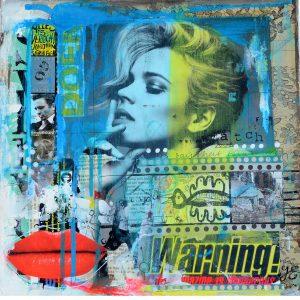 acryl collage mixed media betaalbare kunst schilderij Janet Edens