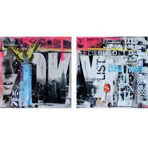 betaalbare kunst kunstwerk schilderij collage Janet Edens mixed media