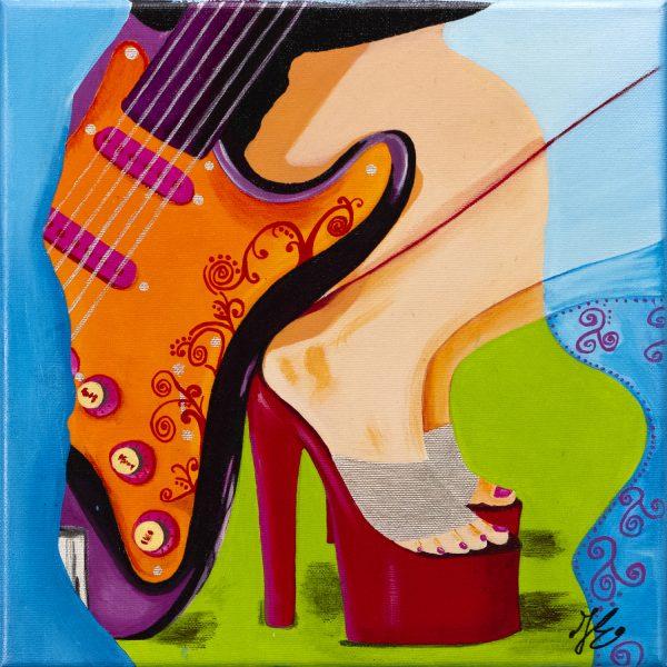 kleurrijke betaalbare kunst Janet Edens schilderij gitaar rood groen blauw paars