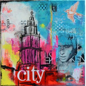 betaalbare kleurrijke kunst kunstwerk schilderij Martinitoren Groningen roze geel blauw