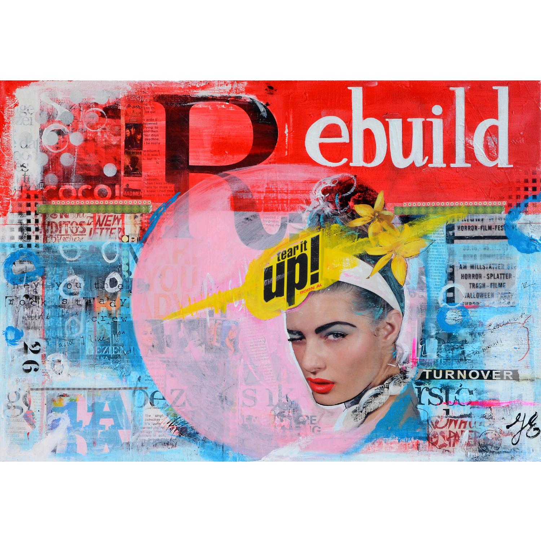 betaalbare kunst kunstwerk schilderij mixed media collagetechniek collage rood roze blauw Janet Edens