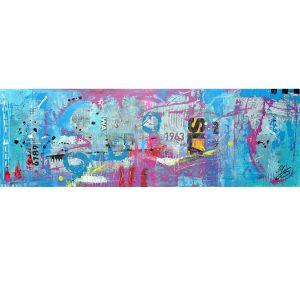 acryl en mixed media schilderij paars blauw roze betaalbare kunst kunstwerk schilderij Janet Edens
