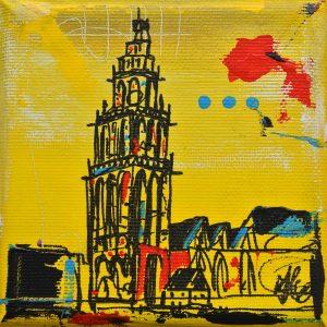 relatiegeschenk kadootje Groningen Martinitoren kado schilderijtje Janet Edens