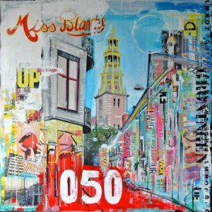schilderij Groningen op linnen A-kerk kleurrijk mixed media acryl Janet Edens