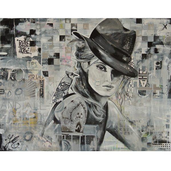 vrouw mixed media acryl op canvas zwart wit schilderij stoer tattoo janet edens