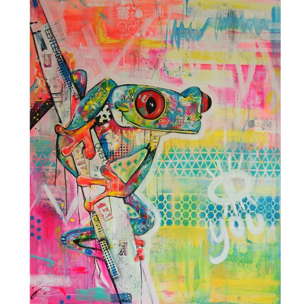 mixed media schilderij kleurrijke kikker