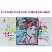 DIY compleet pakket kit mixed media portret schilderen janet edens