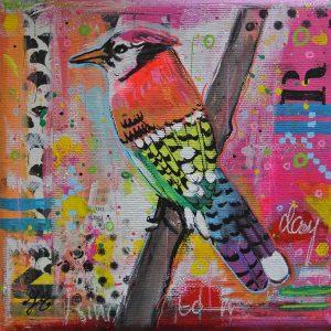 kleurrijk vogeltje mixed media janet edens