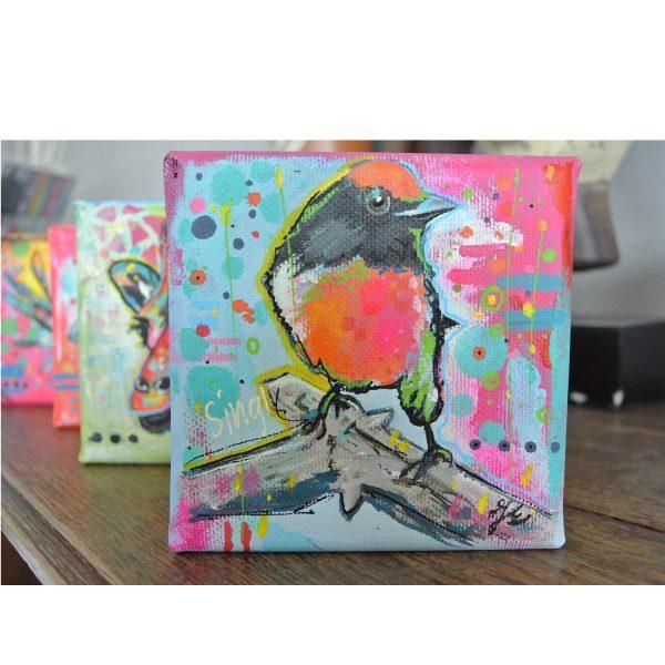 kleurrijke dieren schilderijen 10x10