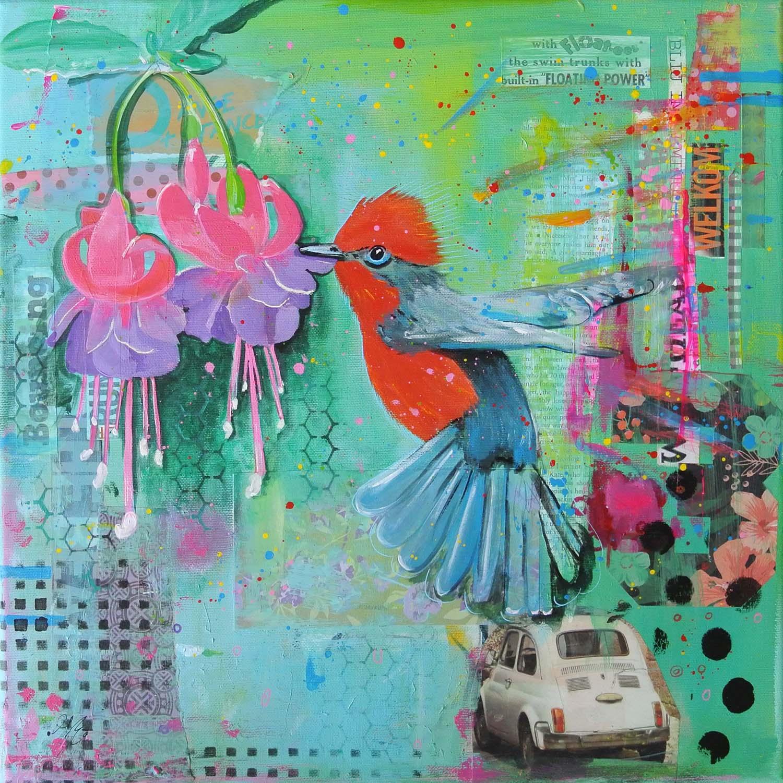 kleurrijke vogels en dieren mixed media schilderijen janet edens s