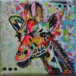 kleurrijke dieren mixed media schilderijen