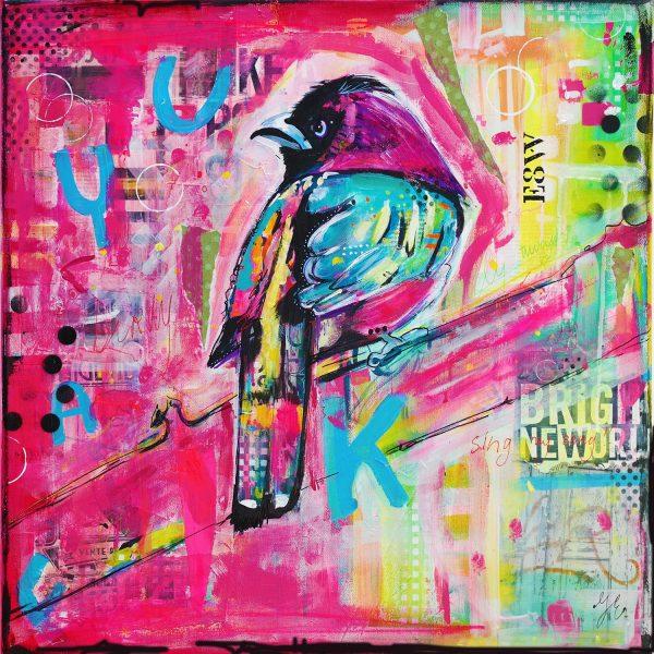 mixed media kleurrijke schilderijen janet edens