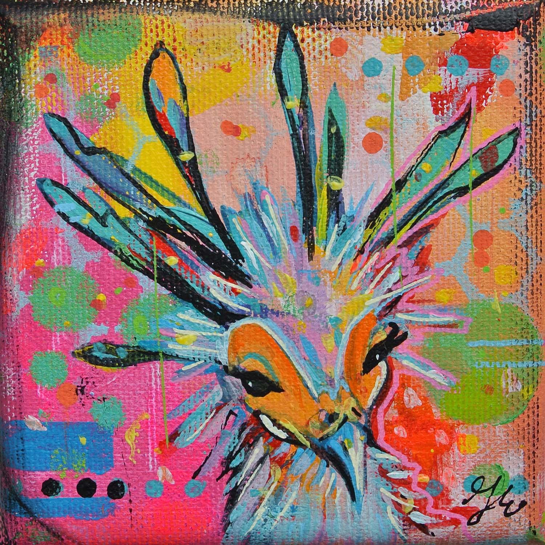 vrolijk mooi vogeltje op klein canvasdoek janet edens