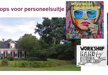 creatieve workshops personeelsuitje bedrijfsuitje teamuitje schilderen mixed media handlettering Noord Sleen door kunstenares Janet Edens