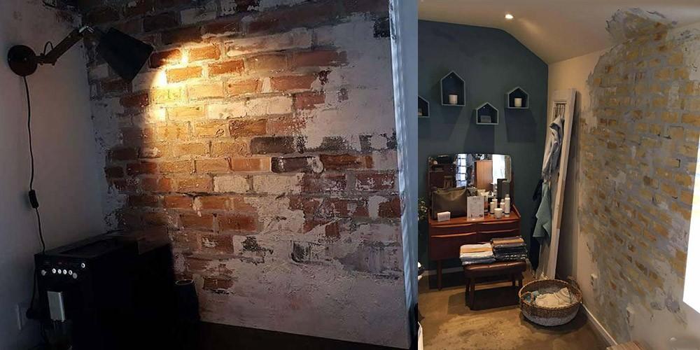 Muurschildering stenen muur/ industriële look | Webshop van Janet Edens