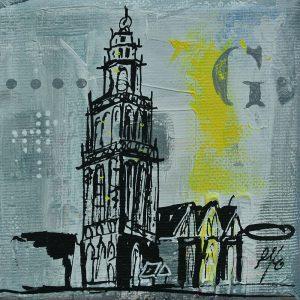 Martinitorentje-Martinitorentje Groningen-Groningen-schilderijtje-grijs