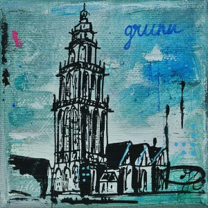 Martinitorentje-Martinitorentje Groningen-Groningen-schilderijtje-blauw