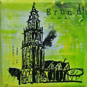 Martinitorentje-Martinitorentje Groningen-Groningen-schilderijtje-citroengeel