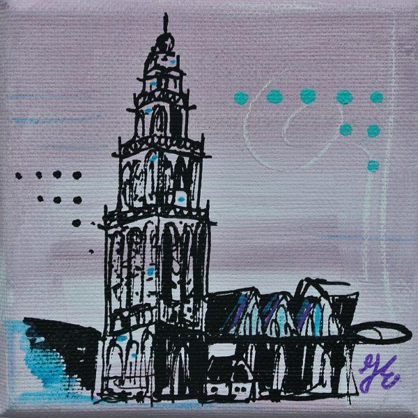 Martinitorentje-Martinitorentje Groningen-Groningen-schilderijtje-geel