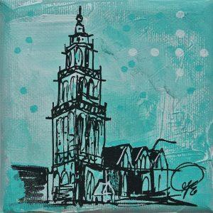 schilderijtje Martinitorentje Groningen kopen aandenken kadootje