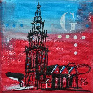 Martinitorentje-Martinitorentje Groningen-Groningen-schilderijtje-rood-wit-blauw-Edens