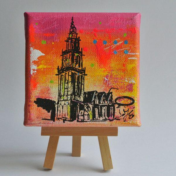 schilderijtje Martinitoren Groningen kopen Janet Edens